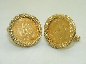 Beautiful 1955 M 5 Cinco Pesos Mexican Gold Coin Cufflinks