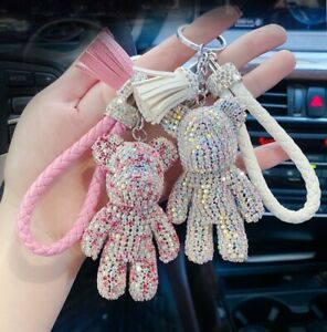 Cute Diamond Bear Key Ring Keychain Bag Charm with Soft Tassel and PU Tag