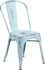 Flash Furniture Distressed Dream Blue Metal Indoor Stackable Chair