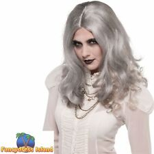 GREY WAVY GHOST ZOMBIE WIG HALLOWEEN ladies womens fancy dress costume