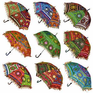 Wholesale Lot Decorative Indian Embroidered Parasol Sun Shade Umbrella