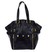 Auth YVES SAINT LAURENT YSL DOWNTOWN Shoulder Bag Patent Leather Black 66Y361