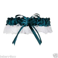 NEW SATIN & LACE EVERGREEN GREEN RIBBON & BOW BRIDE'S WEDDING BRIDAL GARTER TOSS