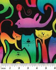 Fat Quarter Katopia Bright Whimsical Cats On Black Cotton Quilting Fabric