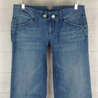 American Eagle womens size 4 stretch blue med wash low rise wide bootcut jeans