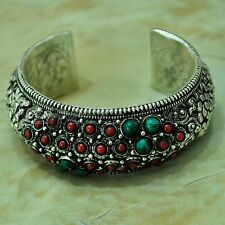 Turquoise Coral Cuff Bangle Bracelet Silver Plated Nepalese Handmade BR249