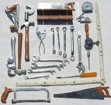 Vtg 24 Lot Marx Toy Miniature Tool Set Plane Hacksaw Drill Tape Measure Hammer +