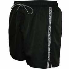 Emporio Armani Logo Cinta Pantalones Cortos de Baño para Hombre, Negro