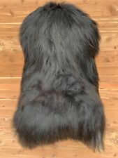 LARGE ICELANDIC GENUINE SHEEPSKIN RUG FUR THROW * NATURAL BLACK SHEEPSKIN HIDE