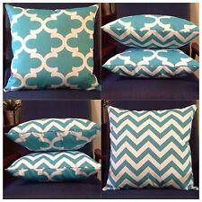 45x45cm Indoor/Outdoor Premier Prints Aqua/White Chevron/Moroccan Cushion Cover