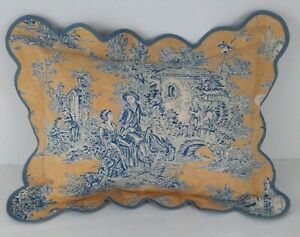 Legacy a Ryan Company VTG Toile Bed Scalloped Accent Pillow Blue Yellow Classic