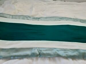 """Two Tone Turquoise Blue/Green Wide Striped Long Bed Runner 84"""" x 18"""""""