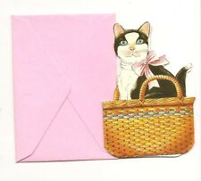 LOT OF 6 Black and White CAT KITTEN Mini CARD CARDS TAG TAGS w/ PINK ENVELOPES