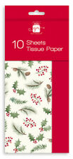 10 Sheets Christmas Tissue Paper Gift Wrap Holly Leaf Red Berry Design GA103
