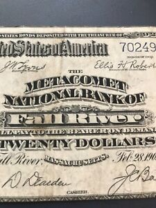 Fall river Massachusetts , Metacomet National bank 1902 $ 20 PB , VF