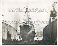 1972 Russian Fishing Trawler S' Andreev in Dry Dock NYC Press Photo