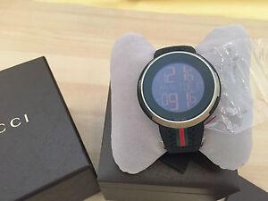 Authentic I-Gucci Digital Mens Watch XXL Sport 49MM Black Rubber YA114103.