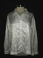 CHICO'S Size 3 16 18 XL Blouse Shirt Top White Crinkle Embroidery Long Sleeve