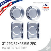 "4 Pcs Magnet Tray Magnetic Parts Holder Dish Organizer Stainless Steel 3"" 93CM"