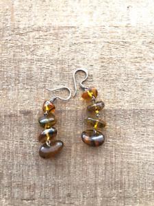 Handmade Amber sterling silver chandelier earrings