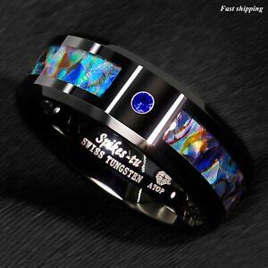 8/6mm Black Tungsten Ring Blue Diamond Colored glaze Inlay ATOP Men's Jewelry