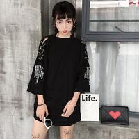 Harajuku Woman's Fashion Print Ring T-shirt Girl Loose Short Sleeve Dress
