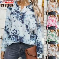 Women's Tie Dye Long Sleeve Pullover Shirt Ladies Casual Loose Blouse Tops Tee