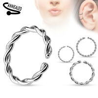 16g Twisted Nose Rope Hoop Tragus Cartilage Segment Look Ear Annealed Steel