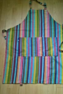 Rushbrookes Regatta Purple Pink Green Stripe Adult Full Bib Apron 100% Cotton