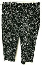 Ralph Lauren Crop Pant 18W Black and White Side  Floral Print