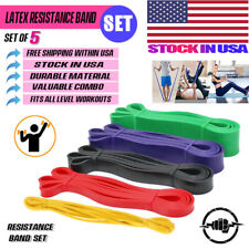 Heavy Duty Resistance Band Set 5 Loop for Gym Exercise Pull up Fitness Workout