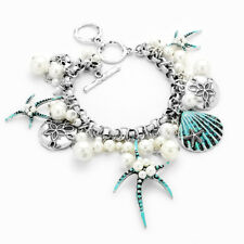 "Starfish Silver & Toggle Bracelet Women 6.5-7.5"""