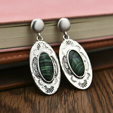 Vintage 925 Silver Green Glass Wedding Handmade Dangle Earrings Eardrop Gift New