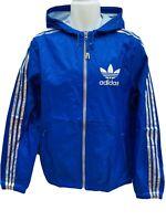 New Vintage adidas Originals MENS Lightweight Rain Jacket Blue Silver M
