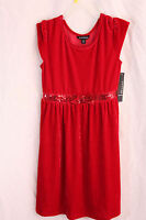 Red Dress Sequin size 10/12 New Red Velour Bow knee lenght