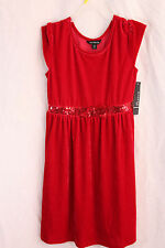 Girls Red Dress Sequin New Red Velour Bow knee lenght size 10/12