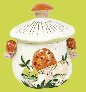Arnels Mushroom Ceramic Sugar Bowl/Stash Jar 70s Retro Decor Cottage Core VTG