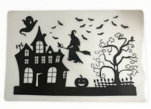 """Haunted House Halloween Placemats Clear Vinyl Gothic 17.5"""" x 12""""  Set of 4 Scary"""