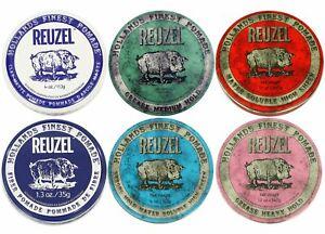 Reuzel Hair Pomade, 1.3 and 4oz, Clay Matte, Fiber, Green, Blue, Pink
