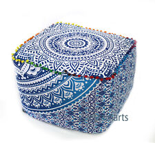 """18"""" Indian Mandala Ottoman Pouf Cover Handmade Square Footstool Covers Turquoise"""