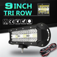 9Inch Tri Row LED Work Light Bar Flood Spot Combo Car Truck Offroad SUV 4WD+Wire