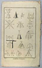 Mathematics Orig copper engraving 1770 Science Cone Geometry Math Teacher