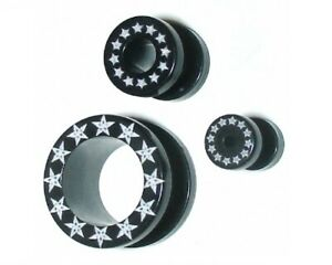 5mm Black Acrylic Ear Tunnel / Plug + White Star Print Rim ~ Stretched Piercing