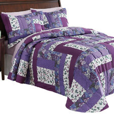 Caledonia Lavender Floral Patchwork Quilted Medium-Weight Bedspread