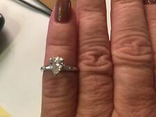 PEAR CUT DIAMOND  ENGAGEMENT RING 14 WHITE GOLD,WITH APPRAISAL