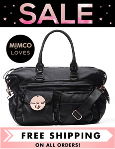 MIMCO LUCID BABY NAPPY BAG + CHANGE MAT BLACK ROSE GOLD NEW W/ TAGS RRP$299