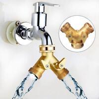 3/4 Inch Brass Garden Irrigation 2 Way Adapter Splitter Hose Pipe Tap Connector.