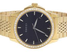 Gucci 101 G-Timeless Yellow S.Steel Swiss Black Dial Diamond Watch YA126402 2 Ct