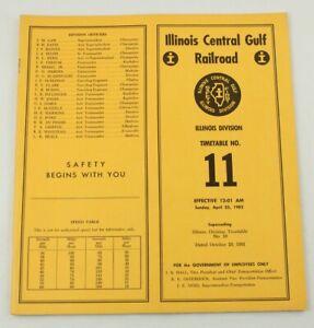 Illinois Central Gulf Railroad RR ETT Timetable 1982 TT