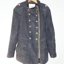Zara Woman Black Velvet Blazer Military Coat Jacket Size M Gold Tone Buttons